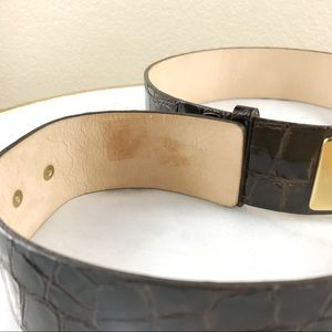 St. John Accessories - St. John Embossed Patent Leather Turnlock Belt